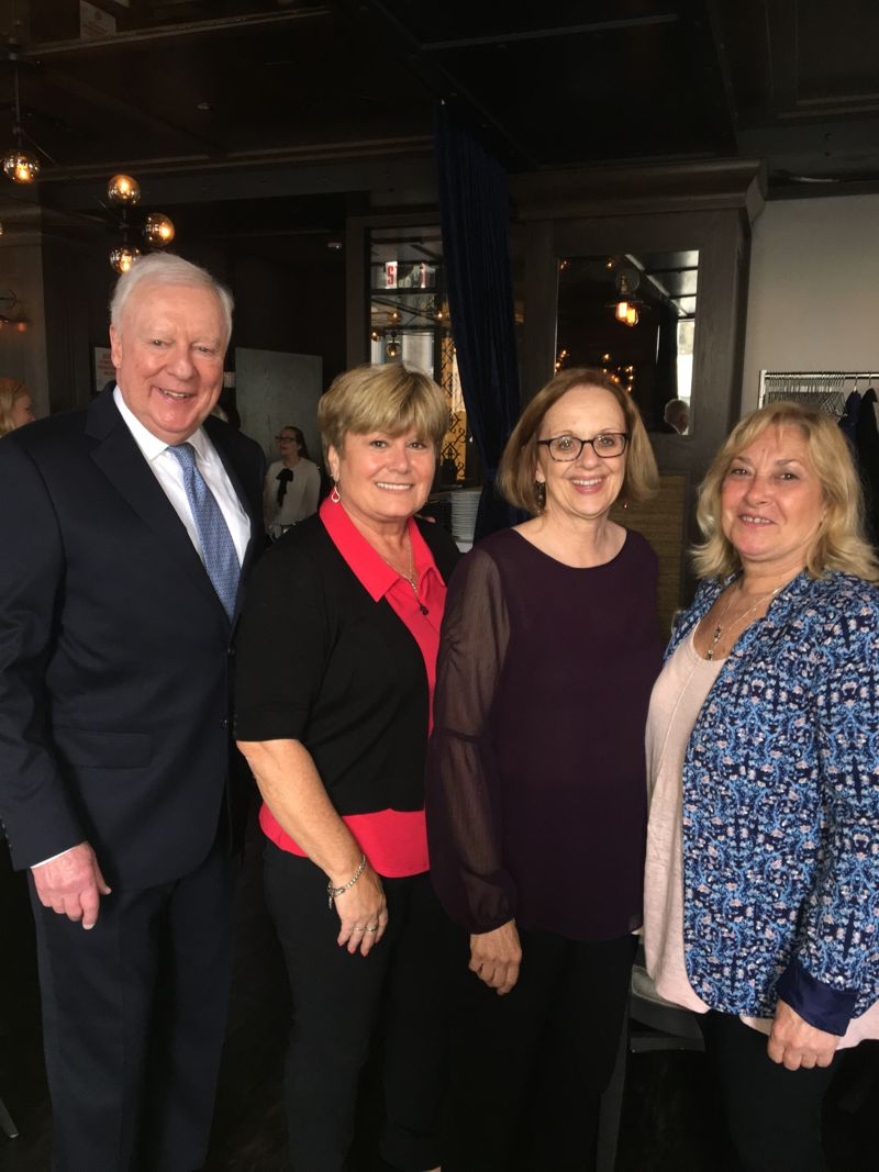 John O'Brien, Joan Egan-Halpin, Mona Stevens, and Diane Sullivan at retirement party