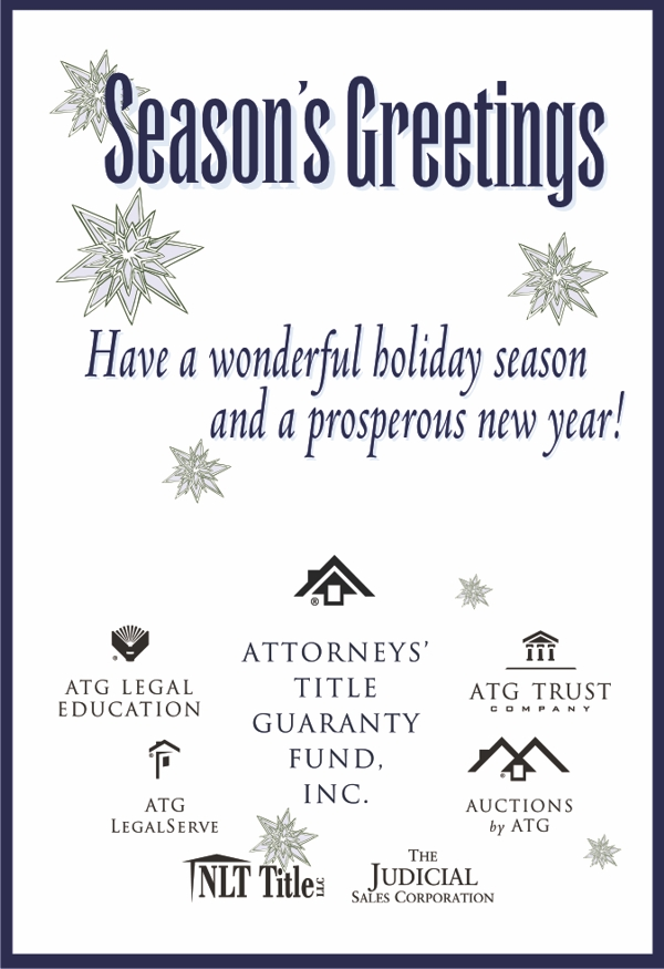 Season's Greetings. Have a wonderful holiday season and a prosperous new year!