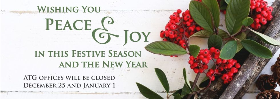Wishing you peace and joy in this festive season and the new year - ATG closed December 25 and January 1